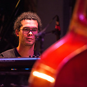 Fabian Almazan during the sound check before performing with the Terence Blanchard Quintet at The Music Hall in Portsmouth, NH. August, 2013.