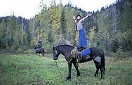 Horseback Treck to Homestead.The Pilgrim Family.Alaska.USA