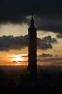 Sunset behind Taipei 101 in Taipei, Taiwan.