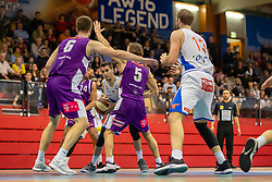 16.03.2019, SPH Walfersam, Kapfenberg, AUT, Admiral BBL, Kapfenberg Bulls vs Vienna D.C. Timberwolves, 29. Runde, im Bild v.l.: Nemanja Nikolic (Vienna D.C. Timberwolves), Bogic Vujosevic (Kapfenberg Bulls), Joseph Scott (Vienna D.C. Timberwolves) // during the Admiral Basketball league, 29th round match between Kapfenberg Bulls and Vienna D.C. Timberwolves at the SPH Walfersam in Kapfenberg, Austria on 2019/03/16. EXPA Pictures © 2019, PhotoCredit: EXPA/ Dominik Angerer
