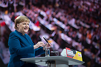 07 DEC 2018, HAMBURG/GERMANY:<br /> Angela Merkel, CDU, Bundeskanzlerin, haelt Ihre letzte Rede als Parteivorsitzende, CDU Bundesparteitag, Messe Hamburg<br /> IMAGE: 20181207-01-008<br /> KEYWORDS: party congress, speech