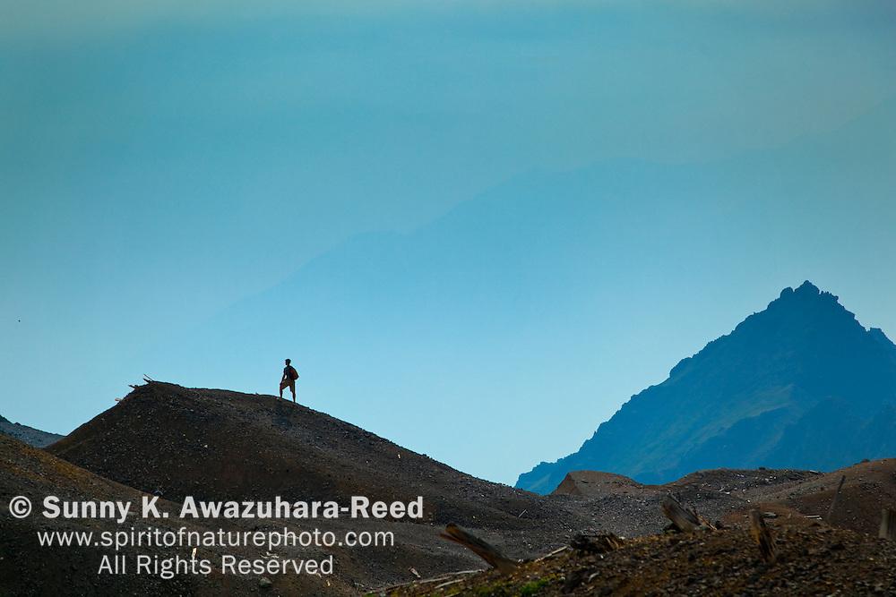 Hiker, Jumbo Mine, Wrangell - St. Elias Park, Alaska