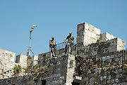 Israeli security forces overlooking the Wailing wall square
