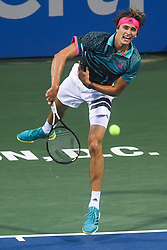August 2, 2018 - Washington, D.C, U.S - ALEXANDER ZVEREV hits a serve during his 3rd round match at the Citi Open at the Rock Creek Park Tennis Center in Washington, D.C. (Credit Image: © Kyle Gustafson via ZUMA Wire)
