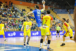 Klemen Cehte of Slovenia and Kiril Lazarov of F.Y.R. Macedonia during friendly handball match between National Teams of Slovenia and F.Y.R. of Macedonia before EHF EURO 2016 in Poland on January 5, 2016 in Arena Zlatorog, Celje, Slovenia. Photo by Urban Urbanc / Sportida