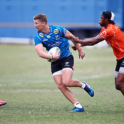 Aphelele Fassi tackling Robert du Preez of the Cell C Sharks during The Cell C Sharks training session at Jonsson Kings Park Stadium in Durban, South Africa. 21 May 2019 (Mandatory Byline Steve Haag)