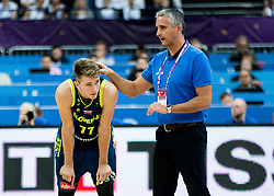 Luka Doncic of Slovenia and Henrik Dettmann, head coach of Finland during basketball match between National Teams of Finland and Slovenia at Day 3 of the FIBA EuroBasket 2017 at Hartwall Arena in Helsinki, Finland on September 2, 2017. Photo by Vid Ponikvar / Sportida