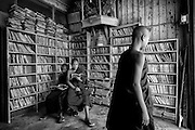 Monks at a bookshop in Kalaw town.