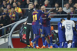 (L-R) Ousmane Dembele of FC Barcelona, Aleix Vidal of FC Barcelona during the UEFA Champions League round of 16 match between FC Barcelona and Chelsea FC at the Camp Nou stadium on March 14, 2018 in Barcelona, Spain.