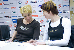 Vesna Pus and Sergeja Stefanisin at  press conference of Handball women national team of Slovenia before prequalification tournament (for World Championship China 2009) in Montenegro from 25th till 30th November 2008, on November 31, 2008, in RZS, Ljubljana, Slovenia. (Photo by Vid Ponikvar / Sportida)