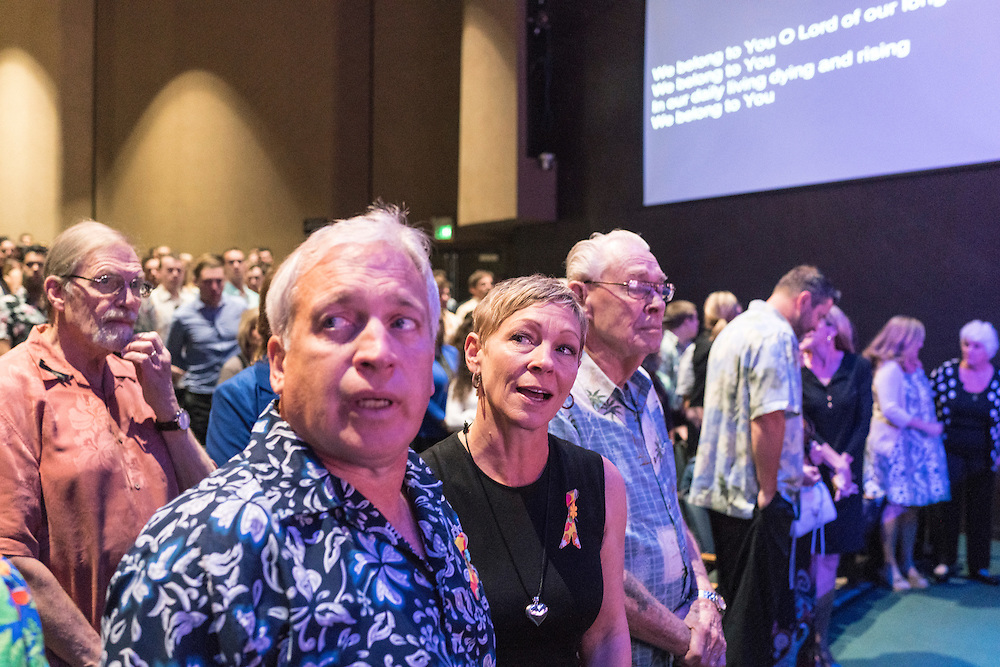 Anaheim, California - February 20, 2016: Friends and family gather at Servite High School for my half-brother Chris Roth's service. <br /> CREDIT: Matt Roth
