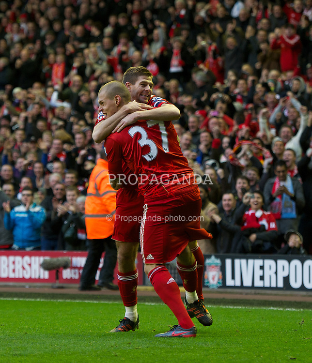 LIVERPOOL, ENGLAND - Saturday, February 19, 2012: Liverpool's Martin Skrtel celebrates scoring the first goal against Brighton & Hove Albion with captain Steven Gerrard during the FA Cup 5th Round match at Anfield. (Pic by David Rawcliffe/Propaganda)