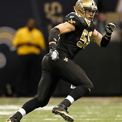 November 28, 2011; New Orleans, LA, USA; New Orleans Saints linebacker Scott Shanle (58) against the New York Giants during the second half of a game at the Mercedes-Benz Superdome. The Saints defeated the Giants 49-24. Mandatory Credit: Derick E. Hingle-US PRESSWIRE