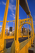 Pittsburgh Skyline, 6th Street Bridge, Robert Clemente Bridge, Pittsburgh, PA