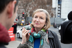 © Licensed to London News Pictures. 20/03/2019. London, UK. Independent Group MP Sarah Wollaston talks to reporters as she arrives at Parliament. Today Prime Minister Theresa May will ask the EU to delay article 50 and delay the United Kingdom's exit from the European Union.  Photo credit: Peter Macdiarmid/LNP