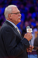 02 April 2013: Retired Los Angeles Lakers head coach Phil Jackson speaks during the Shaquille O'Neal jersey retirement ceremony during halftime of  the Lakers 101-81 victory over the Dallas Mavericks at the STAPLES Center in Los Angeles, CA.