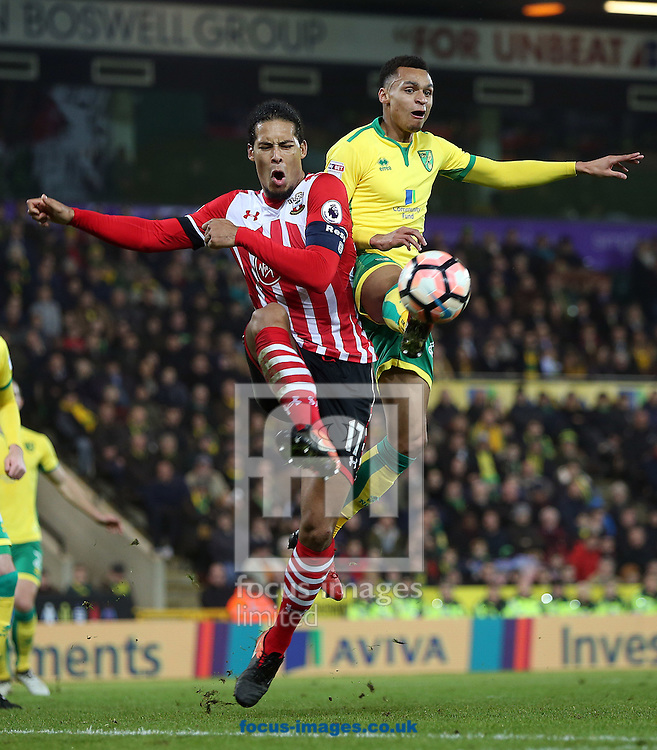 Virgil van Dijk of Southampton and Josh Murphy of Norwich in action during the third round of the FA Cup at Carrow Road, Norwich<br /> Picture by Paul Chesterton/Focus Images Ltd +44 7904 640267<br /> 07/01/2017