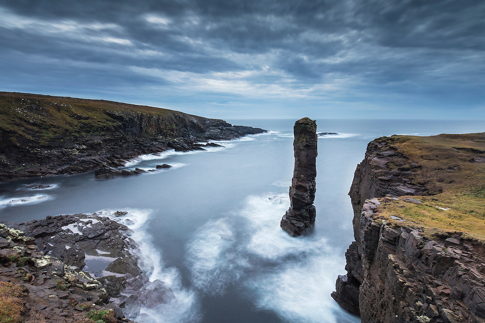 Yesnaby seastack in stormy light, Orkney, Scotland.