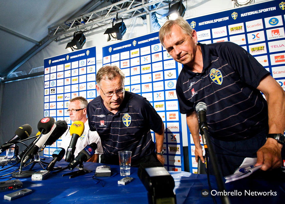 LUGANO 080619<br /> I bild: Lars Lagerb&auml;ck h&ouml;ll sin sista presskonferens p&aring; Cornaredo-stadion f&ouml;r den h&auml;r samlingen.