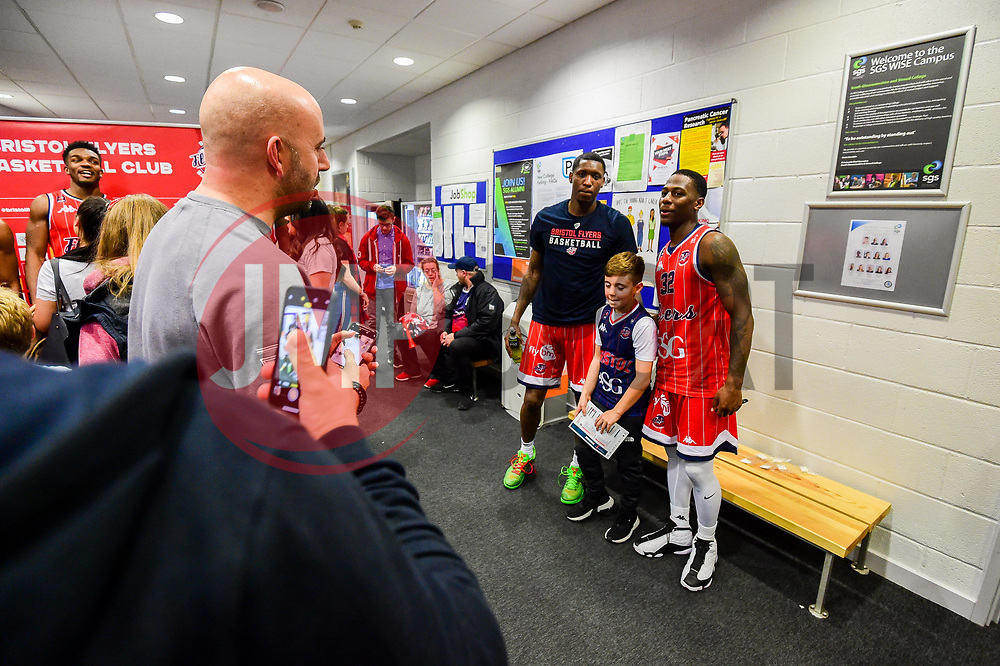 Fred Thomas of Bristol Flyers and Jalan McCloud of Bristol Flyers after the final whistle of the match - Photo mandatory by-line: Ryan Hiscott/JMP - 03/11/2018 - BASKETBALL - SGS Wise Arena - Bristol, England - Bristol Flyers v Newcastle Eagles - British Basketball League Championship