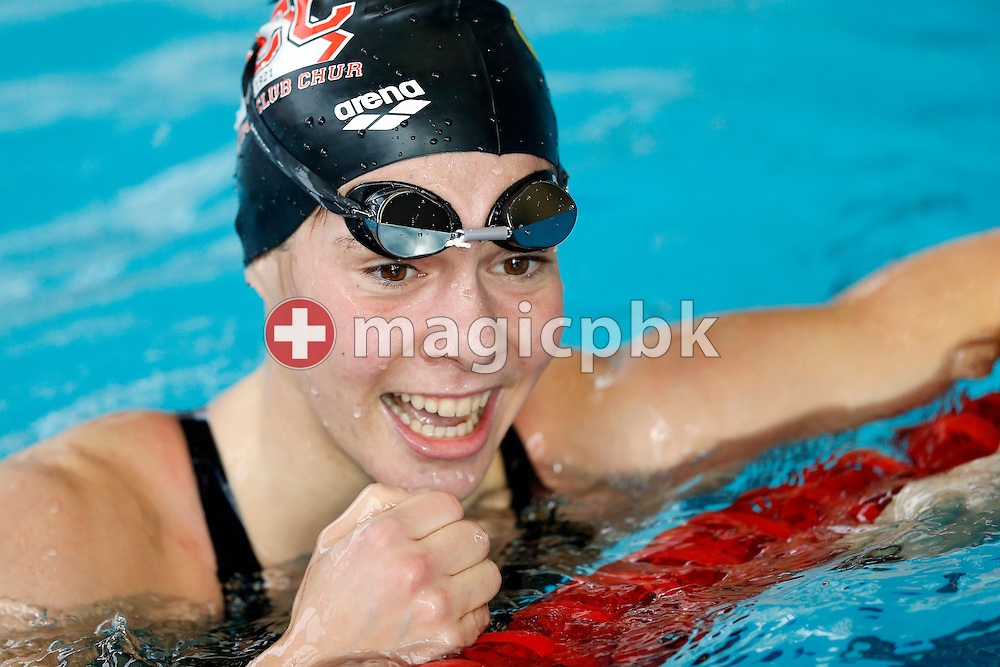 CHUR's Svenja STOFFEL of Switzerland celebrates her qualification for the European SC Champs after competing in the women's 100m Butterfly Heats during the Swiss Short Course Swimming Championships in Lausanne, Switzerland, Friday, Nov. 29, 2013. (Photo by Patrick B. Kraemer / MAGICPBK)