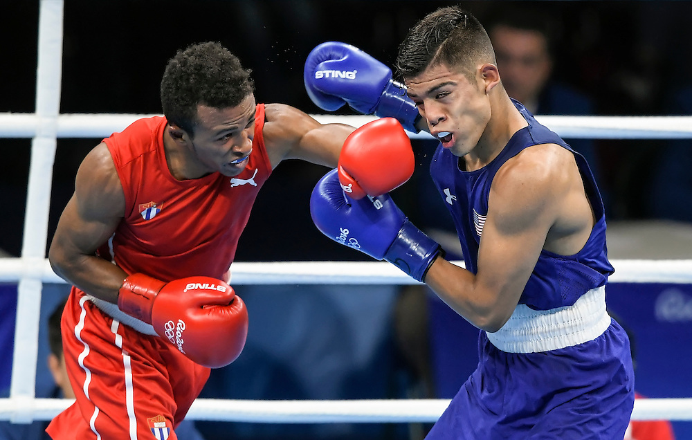 United States boxer Carlos Balderas, Jr., right, was defeated 3:0 in the men's light (60kg) quarterfinal 1 by Cuba's Lazaro Alvarez, left, on Friday at the Riocentre Pavillion during the 2016 Summer Olympics Games in Rio de Janeiro, Brazil.