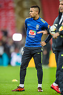 Gabriel Jesus of Brazil warms up ahead of the international friendly match between England and Brazil at Wembley Stadium, London, England on 14 November 2017. Photo by Darren Musgrove.