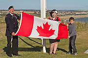 Charlotte Crookston, Young Mayor of Newhaven with her brother and Standard Bearer Jim Still (L)at the 71st Anniversary of the Dieppe Raid held at Newhaven Fort, East Sussex followed by a Memorial Service at the Canadian Memorial at South Way. March of the Standard Bearers and Veterans from Denton Island to the Memorial