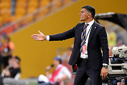 December 17, 2017 - Brisbane, QUEENSLAND, AUSTRALIA - Brisbane Roar coach John Aloisi gives instructions during the round eleven Hyundai A-League match between the Brisbane Roar and the Melbourne Victory at Suncorp Stadium on Sunday, December 17, 2017 in Brisbane, Australia. (Credit Image: © Albert Perez via ZUMA Wire)