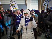 28 FEBRUARY 2020 - MINNEAPOLIS, MINNESOTA: Striking members of the SEIU Local 26 inside the main terminal during a strike picket at  the Minneapolis St. Paul International Airport. The striking workers did not disrupt flights or passengers. About 4,000 janitorial and custodial workers represented by the Service Employees International Union (SEIU) Local 26 in the Twin Cities are on an Unfair Labor Practices (ULP) strike for better wages and benefits. Friday morning they picketed  the Minneapolis-St. Paul International Airport Friday morning.          PHOTO BY JACK KURTZ