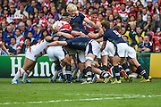 Scotland win a maul during the Rugby World Cup Pool B match between Scotland and Japan at the Kingsholm Stadium, Gloucester, United Kingdom on 23 September 2015. Photo by Shane Healey.