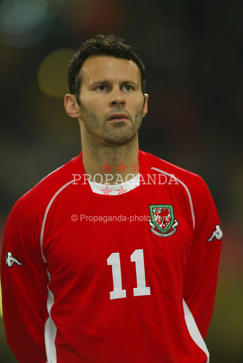 CARDIFF, WALES - Wednesday, February 18, 2004: Wales' Ryan Giggs pictured before the international friendly match against Scotland at the Millennium Stadium. (Pic by David Rawcliffe/Propaganda)