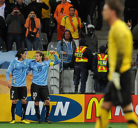 FOOTBALL - FIFA WORLD CUP 2010 - 1/2 FINAL - URUGUAY v NETHERLANDS - 6/07/2010 - JOY DIEGO FORLAN (URU) AFTER HIS GOAL<br /> PHOTO FRANCK FAUGERE / DPPI