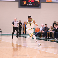 5th year guard Brandon Tull (5) of the Regina Cougars during the Men's Basketball home game on November 24 at Centre for Kinesiology, Health and Sport. Credit: Arthur Ward/Arthur Images
