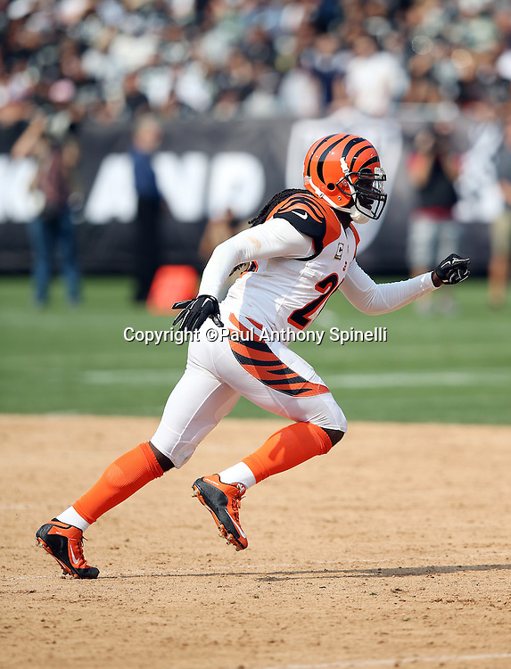 Cincinnati Bengals free safety Reggie Nelson (20) chases the action during the 2015 NFL week 1 regular season football game against the Oakland Raiders on Sunday, Sept. 13, 2015 in Oakland, Calif. The Bengals won the game 33-13. (©Paul Anthony Spinelli)