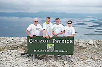 22/06/2014 Paul Riddle William Cawley Daniel Mangan Edel  Kelly Ballinasloe who climbed the  765 metre Croagh Patrick in Mayo as part of the 30th Anniversary Celebrations of  Self Help Africa and to support the work of Self Help Africa in 10 countries in Africa. Photo: Andrew Downes