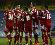 Picture by David Horn/Focus Images Ltd +44 7545 970036<br /> 03/12/2013<br /> Andy Reid of Nottingham Forest (11) celebrates with team mates after scoring his team's first goal to make it 1-1 during the Sky Bet Championship match at The Den, London.