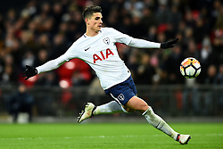 February 7, 2018 - London, United Kingdom - Tottenham Hotspur's Erik Lamela takes a shot during the FA Cup Fourth Round replay match between Tottenham Hotspur and Newport County at Wembley stadium, London, England on 10 Feb  2018. (Credit Image: © Kieran Galvin/NurPhoto via ZUMA Press)