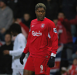 BOLTON, ENGLAND - MONDAY, JANUARY 2nd, 2006: Liverpool's Djibril Cisse in action against Bolton Wanderers during the Premiership match at the Reebok Stadium. (Pic by David Rawcliffe/Propaganda)