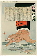 Russo-Japanese War 1904-1905:  A huge Japanese hand crushing Port Arthur (Lushun) 25 July 1904.  Russia finally surrendered Port Arthur on 2 January 1905.  Kobayashi Kiyochika (1847-1915) Japanese artist.