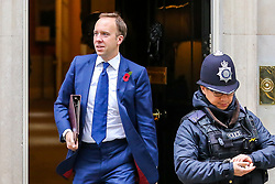 © Licensed to London News Pictures. 29/10/2019. London, UK. Secretary of State for Health and Social Care MATT HANCOCK departs from No 10 Downing Street after attending the weekly cabinet meeting. Photo credit: Dinendra Haria/LNP