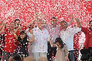 El partido de izquierda Frente Farabundo Marti fmln presento en el estadio Cuscatlan, san Salvador, El Salvador Domingo NOV 11, 2012 a su formula presidencial Salvador Sanchez y Oscar Ortiz para competir en los comicios electorales del 2014. La izquierda que gobierna con una coalición espera mantenerse en el poder por un segundo periodo. Photo: Wilton CastilloImagenes Libres.