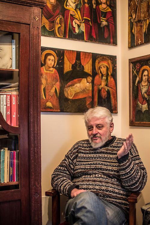 ODESSA, UKRAINE - MARCH 26, 2015: Poet Boris Khersonsky sits for an interview in his home office in Odessa, Ukraine. CREDIT: Brendan Hoffman for The New York Times