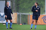 22 April 2008: Lori Chalupny (l) and Tobin Heath (r). The United States Women's National Team held a training session on Field 3 at WakeMed Soccer Park in Cary, NC.