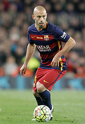 02.04.2016, Camp Nou, Barcelona, ESP, Primera Division, FC Barcelona vs Real Madrid, 31. Runde, im Bild FC Barcelona's Javier Mascherano // during the Spanish Primera Division 31th round match between Athletic Club and Real Madrid at the Camp Nou in Barcelona, Spain on 2016/04/02. EXPA Pictures © 2016, PhotoCredit: EXPA/ Alterphotos/ Acero<br /> <br /> *****ATTENTION - OUT of ESP, SUI*****