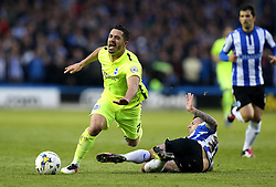Daniel Pudil of Sheffield Wednesday brings down Biram Kayal of Brighton & Hove Albion - Mandatory by-line: Robbie Stephenson/JMP - 13/05/2016 - FOOTBALL - Hillsborough - Sheffield, England - Sheffield Wednesday v Brighton and Hove Albion - Sky Bet Championship Play-off Semi Final first leg
