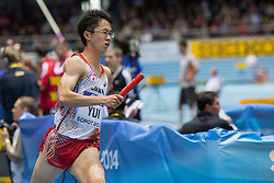 08.03.2014, Ergo Arena, Sopot, POL, IAAF, Leichtathletik Indoor WM, Sopot 2014, im Bild KAISEI YUI 4X400 m // KAISEI YUI 4X400 m during day two of IAAF World Indoor Championships Sopot 2014 at the Ergo Arena in Sopot, Poland on 2014/03/08. EXPA Pictures © 2014, PhotoCredit: EXPA/ Newspix/ Radoslaw Jozwiak<br /> <br /> *****ATTENTION - for AUT, SLO, CRO, SRB, BIH, MAZ, TUR, SUI, SWE only*****