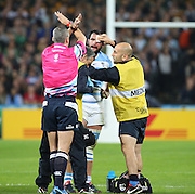 Argentina's Juan Figallo having to go off after a nasty knock to the head to get checked out during the Rugby World Cup Bronze Final match between South Africa and Argentina at the Queen Elizabeth II Olympic Park, London, United Kingdom on 30 October 2015. Photo by Matthew Redman.