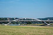 Elbauen mit Waldschlösschenbrücke, Dresden, Sachsen, Deutschland | Waldschloesschen Bridge, Dresden, Saxony, Germany,