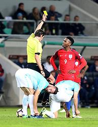 Daniel Sturridge of England looks perplexed as he is awarded a yellow card - Mandatory by-line: Robbie Stephenson/JMP - 11/10/2016 - FOOTBALL - RSC Stozice - Ljubljana, England - Slovenia v England - World Cup European Qualifier
